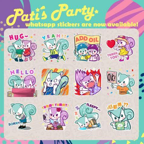 Pati's Party WhatsApp Stickers!