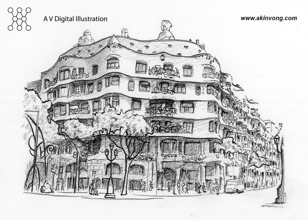 Pencil Sketch(Gaudi Architerture) 04