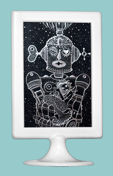 Scratchboard drawing Robot & Mermaid