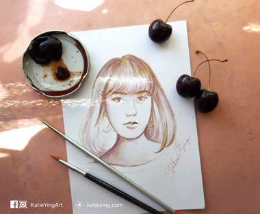 Portrait DrawingCherry Juice Painting